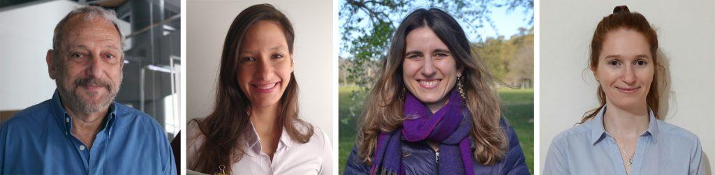 [Izq. A der] Eduardo Arzt (IBioBA), Belén Elguero (IBioBA), María Eugenia Monge (CIBION), Manuela R. Martinefski (CIBION)